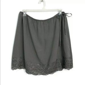 Garnet Hill Gray 100% Silk Lace Trim Mini Skirt 14